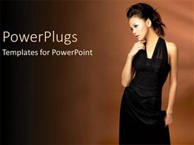 PowerPoint template displaying pretty Asian female model in black with a brown background