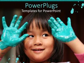 PowerPlugs: PowerPoint template with pretty Asian girl with both her hands dipped in paint