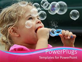 PowerPlugs: PowerPoint template with pretty baby girl blowing out bubbles and smiling outdoors