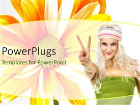 PowerPlugs: PowerPoint template with a pretty blond lady with a big yellow flower behind