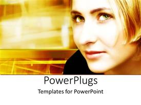 PowerPlugs: PowerPoint template with a pretty blond lady on a fuzzy yellow background