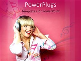 PowerPlugs: PowerPoint template with a pretty blond lady wearing headphones on a pink background