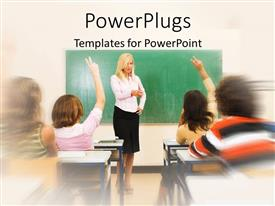 PowerPoint template displaying a pretty blond teacher in a classroom with some students