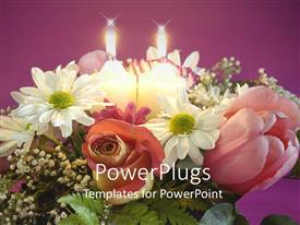 PowerPlugs: PowerPoint template with pretty bouquet of flowers with two candles beside