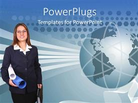 PowerPlugs: PowerPoint template with a pretty business lady holding papers and an earth globe
