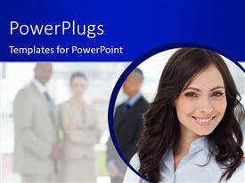 PowerPlugs: PowerPoint template with a pretty business lady smiling with three business men