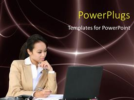 PowerPlugs: PowerPoint template with a pretty business lady wporking on some papers and starring at a laptop screen