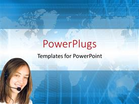 PowerPlugs: PowerPoint template with a pretty call center lady on a blue background