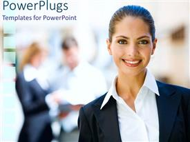 PowerPlugs: PowerPoint template with pretty cooperate dressed lady smiling on a blurry background