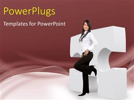 PowerPlugs: PowerPoint template with a pretty corporate lady resting on a large puzzle
