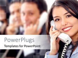 PowerPlugs: PowerPoint template with a pretty customer care lady smiling and talking into a phone