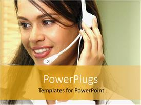 PowerPlugs: PowerPoint template with pretty customer service lady wearing a white headset and smiling