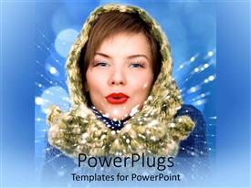 PowerPoint template displaying pretty female adult in winter cap blowing out snow