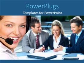 PowerPlugs: PowerPoint template with a pretty female call center agent smiling with other business people