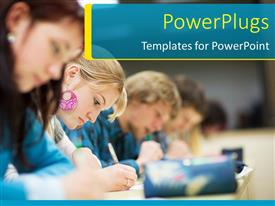 PowerPoint template displaying pretty female college student sitting an exam in a classroom full of students
