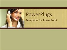 PowerPlugs: PowerPoint template with pretty female customer service representative smiling on a brown background