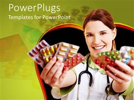 PowerPlugs: PowerPoint template with a pretty female doctor holding out lots of pills