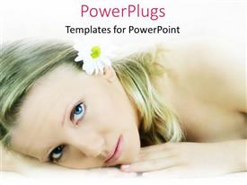 PowerPlugs: PowerPoint template with pretty female lying and staring with a white flower in her hair