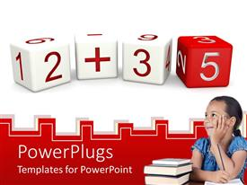 PowerPlugs: PowerPoint template with a pretty female pupil with a stack of books