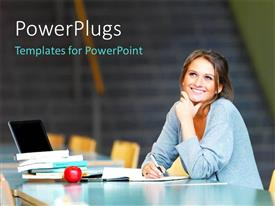 PowerPlugs: PowerPoint template with a pretty female student smiling wiith an open laptop and books
