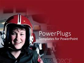 PowerPoint template displaying a pretty female wearing a red helmet and smiling