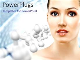 PowerPlugs: PowerPoint template with a pretty female on a white background with molecules