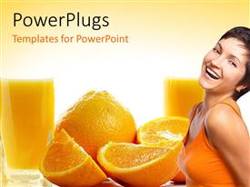 PowerPoint template displaying a pretty fir lady smiling with some sliced oranges