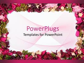 PowerPlugs: PowerPoint template with a pretty floral frame of multi colored different flowers