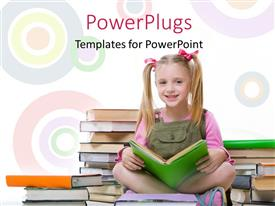 PowerPlugs: PowerPoint template with a pretty girl sitting cross legged reading a book