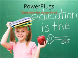 PowerPlugs: PowerPoint template with a pretty girl with text that spell out the words 'education is the key'