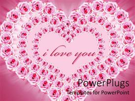 PowerPoint template displaying pretty heart shaped formation of pink roses on a pink background