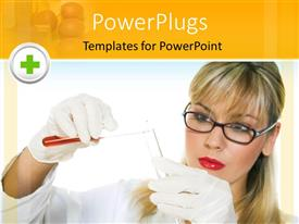 PowerPlugs: PowerPoint template with a pretty laboratory scientist wearing glasses working with test tubes