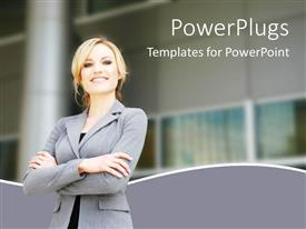 PowerPlugs: PowerPoint template with pretty lady in ash colored suite smiling and folding hands