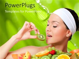 PowerPlugs: PowerPoint template with a pretty lady eating slices of different fruits on a green background