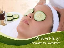 PowerPoint template displaying pretty lady with eyes closed with cucumber getting a massage