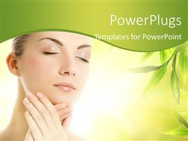 PowerPlugs: PowerPoint template with a pretty lady with her eyes closed and some green leaves