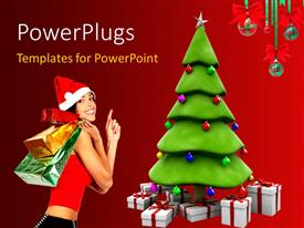 PowerPoint template displaying a pretty lady with gifts bag and a christmas tree