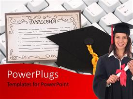 PowerPoint template displaying a pretty lady in graduation dress with a Diploma certificate