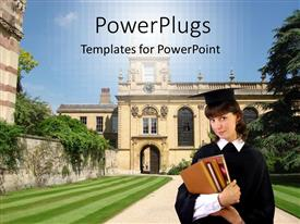 PowerPoint template displaying a pretty lady in a graduation gown holding some books