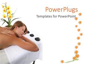 PowerPlugs: PowerPoint template with a pretty lady having a massage on a white background