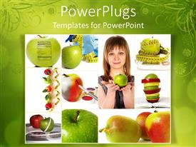 PowerPoint template displaying pretty lady holding an apple with other apple diagrams