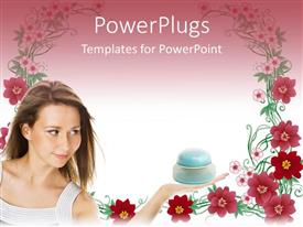 PowerPoint template displaying pretty lady holding a container on a floral background