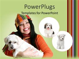 PowerPoint template displaying a pretty lady holding a puppy with two other puppies