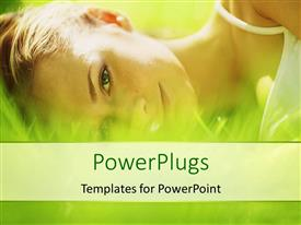 PowerPlugs: PowerPoint template with a pretty lady lying down on a grass field