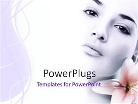 PowerPlugs: PowerPoint template with a pretty lady with a pink blossom beside her