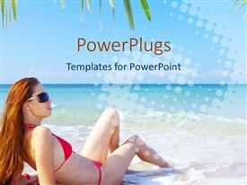 PowerPoint template displaying pretty lady in red lying down on a nice sea shore