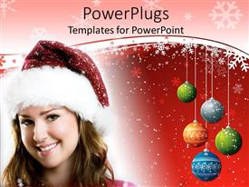 PowerPoint template displaying pretty lady with Santa can with colorful balloons and snow flakes
