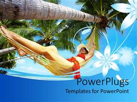 PowerPlugs: PowerPoint template with pretty lady sleeping in a hammock tied to a tree