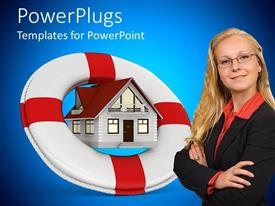 PowerPoint template displaying pretty lady smiling with a buoy over a house