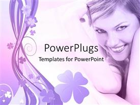 PowerPlugs: PowerPoint template with a pretty lady smiling on a floral designed background
